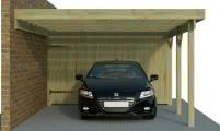 Einzelcarport Anbauversion mit Abstellraum/Geräteraum