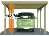 Hohe carports f r caravan transporter und vans for Carport 3x6m holz