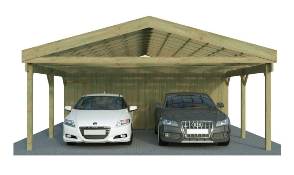 Doppelcarport mit Satteldach und Abstellraum