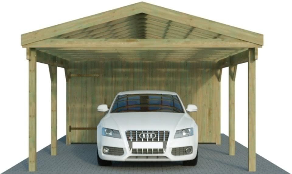 Einzelcarport mit Satteldach und Abstellraum