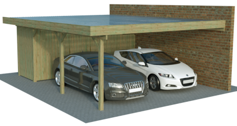 Doppel-Anbaucarports mit Abstellraum von Carport-Discount