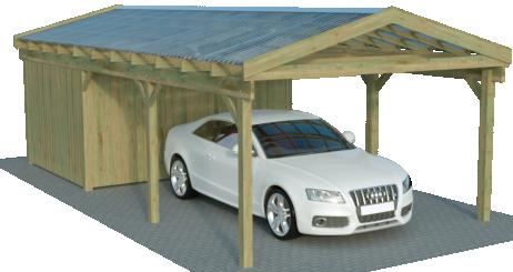 Flachdach Einzelcarport mit Abstellraum
